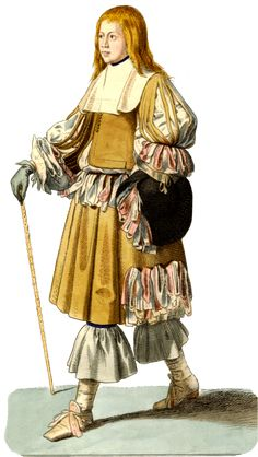 1650-1680, Rhinegraves/petticoat breeches,  knee-length breeches that were either short and straight or full, and drawn in to tie at the knee.