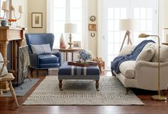 Classic New England living room style with traditional furnishings, neutral hues and coastal accents.