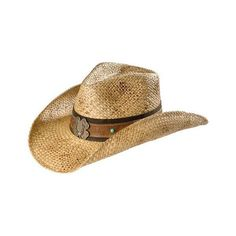 Scala Women's Lucky Horseshoe Dusted Straw Cowboy Hat ($50) ❤ liked on Polyvore featuring accessories, hats, hat bands cowboy hats, western style hats, western hats, straw cowgirl hats and brim straw hat