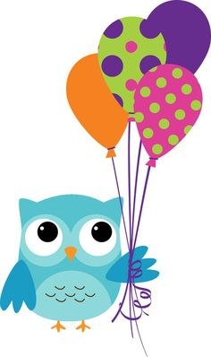 owl with balloons Birthday Clips, Owl Birthday Parties, Birthday Wishes, Happy Birthday, Owl Clip Art, Owl Art, Owl Crafts, Diy And Crafts, Owl Classroom