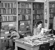 Interior of Ridgefield Library - way back when! From the Clark County Historical Museum Photograph Collection.