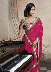 Rani colour #wrinkle #chiffon material #designer #saree #saari