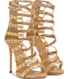 Giuseppe Zanotti Coline studded silk lace-up sandals