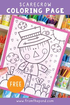 A fun scarecrow coloring page for you to color! Fall Preschool Activities, Thanksgiving Preschool, Holiday Activities, Preschool Projects, Scarecrow Crafts, Scarecrows, 2nd Grade Crafts, Classroom Fun, Google Classroom