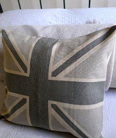 hand printed greys union jack cushion cover