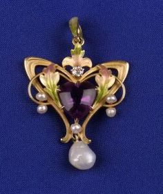 Art Nouveau Enamel and Gem-set Pendant