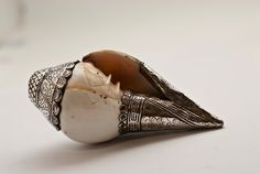 Trumpet Conch Shell, Fine Silver Ethnic Tibetan Ceremonial Conch Shell, Hand-crafted Ritual Object, Floral and Greek key Etched Detail