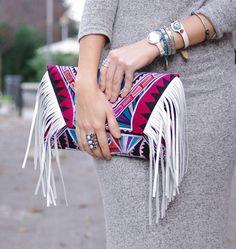 Bolsos de cuero - Bolso flecos étnico - hecho a mano por ethniclanna en DaWanda #bolsos #clutch #bag #DaWanda #hechoamano #handmade #diseño