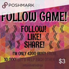 """☆☆ONLY 930 AWAY!☆☆ MY 1ST FOLLOW GAME! IT'S SIMPLE! JUST: 1. LIKE! 👍 2. FOLLOW ME & EVERYONE ON THE """"LIKE"""" LIST! -I WILL ALSO FOLLOW YOU!😄 3. SHARE!👭  When I hit 10,000 I will have 3 BUNDLE GIVEAWAYS! All you pay is Poshmark shipping! It will be good quality items that you can resale &/or use yourself!  Thank you SO much in advance for Liking, Following, & Sharing (#LFS)! I REALLY appreciate it!!!   xoxo  @RandomFindings Patagonia Tops"""