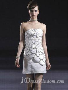 White Elegant Taffeta Strapless Mini Princess Cocktail Dress [10105841] - US$119.99 : DressKindom