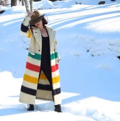 An eclectic mix of fabulous - & Mid Century finds for the Contemporary Pretty Outfits, Cool Outfits, Fashion Outfits, Hudson Bay Blanket, Blanket Coat, Western Wear, Wool Coat, Dress To Impress, What To Wear