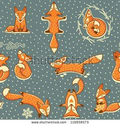 Christmas seamless pattern with red little foxes by pingvin_house, via ShutterStock