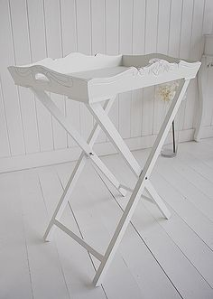 Side photo of the occasional white butlers tray table