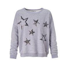 Sweatshirt, Sterne, Pailletten, Melange, oversized, Casual