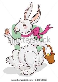 White bunny walking and holding in a hand a colorful Easter egg and a basket in its other hand in the Easter hunting.