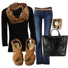 Good casual Friday outfit: Black and cheetah print, blue jeans, tan wedges Fashion Mode, Look Fashion, Womens Fashion, Mode Outfits, Casual Outfits, Fashion Outfits, Casual Clothes, Stylish Clothes, Hijab Fashion