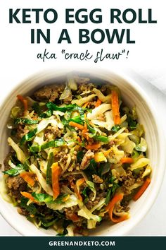 Your favorite take-out flavors in a keto egg roll in a bowl recipe. Also called crack slaw keto egg roll in a bowl is an easy keto dinner recipe made with beef or pork. Whole 30 too! Ketogenic Diet Meal Plan, Ketogenic Diet For Beginners, Diet Meal Plans, Ketogenic Recipes, Diet Recipes, Healthy Recipes, Recipes Dinner, Paleo Diet, Keto Meal