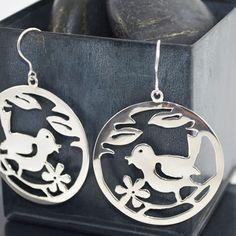 silver-earrings-bird Bird Earrings, Silver Drop Earrings, Sterling Silver Earrings, Silver Jewelry, Handmade Silver, Jewelry Design, Silver Earrings, Silver Jewellery