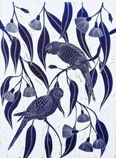 Hand printed Lino carving, printed and designed by me. Inspired by Native Australian Birds and native plants. This is a striking artwork that will suit any room. Printed with professional oil ink in Prussian Blue, on archival, acid free rag paper. Original Wall Art, Illustration, Linocut, Art, Linocut Art, Original Art, Paper Art, Figurative Art, Prints
