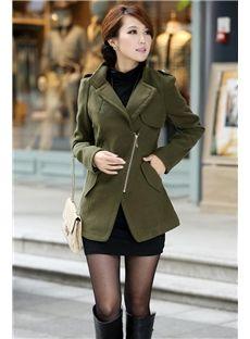 Green/Khaki/Black Chic Zipper Trench Coat