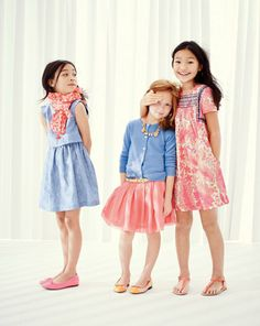 J.Crew Girls gold-button chambray dress, Nellystella® neon geo scarf, classic patent ballet flats, cashmere cardigan, rose crystal necklace, leather cap toe ballet flats, pink floral embroidered dress. #childrenswear