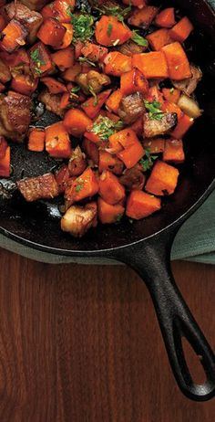 Sweet Potato and Pork Belly Breakfast Hash recipe: You could make this with thick-cut bacon, too!