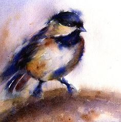 original watercolor bird  framed art  chickadee by AlisaPaints, $100.00