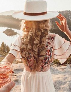 Bohemian Hairstyles, Summer Hairstyles, Pretty Hairstyles, Braided Hairstyles, Wedding Hairstyles, Hairstyles With Hats, Boho Hairstyles For Long Hair, Hairstyle Ideas, Braided Updo