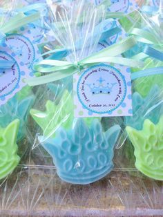 Princess or Prince Crown Soap Favors. Baby Shower Party Favor, Birthday Party Soaps, Disney Inspired themes, Little Prince. Handmade soap customized in color and scent. www.favorsbyangelique.com