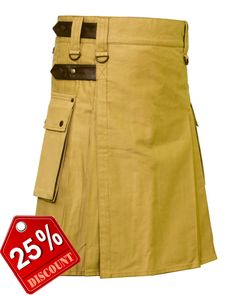 Khaki Deluxe #Kilt with Snap securing #Leather #Strap Our handmade kilts are built to last and will withstand any manly task you put them up to. The style is traditional with added functionality. The custom #button placement and #buckle closure give our kilts a unique flare you won't find anywhere else. #RoyalKilt Visit our online kilt shop we offer most authentic and latest. http://royalkilt.com/kilts/modern-kilts/leather-strap-utility-kilt.html