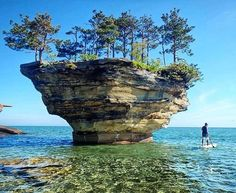 Turnip Rock is a small geological formation in Michigan. It is a stack[1] located in Lake Huron, in shallow water a few meters offshore, near the rock called the Thumbnail which is the extreme tip of Pointe Aux Barques, a small peninsula in Pointe Aux Barques Township which in turn is the extreme tip of The Thumb, a large peninsula comprising several counties in eastern Michigan.[2][3][4]