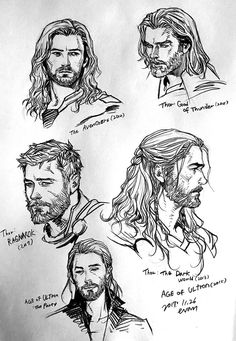 Thor's slowly progressed throughout the years.tbh I preferred his age of ultron look ^^^ personally i like all of his looks except from avengers, thor: god of thunder (that's a game btw) and thor 1 Marvel Drawings, Cartoon Drawings, Drawing Sketches, Art Drawings, Drawing Cartoon Characters, Marvel Art, Marvel Avengers, Marvel Comics, Character Drawing