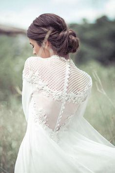 Oh this winter dress is so beautiful with the buttons on her back!