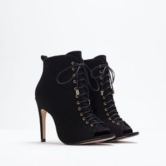 Peep-toe high-heeled leather bootie from ZARA