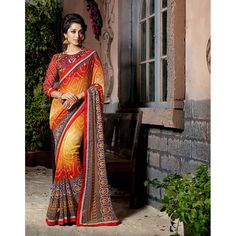 http://www.thatsend.com/shopping/lp/fvp/TESG199484/i/TE262542/iu/red-georgette-traditional-saree  Red Georgette Traditional Saree Apparel Pattern Printed. Work Print. Blouse Piece Yes. Occasion Sangeet, Festive. Top Color Maroon.