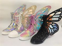Funky Shoes, Crazy Shoes, Cute Shoes, Me Too Shoes, Rainbow Sneakers, Rainbow Shoes, Rainbow Stuff, Kawaii Shoes, Kawaii Clothes