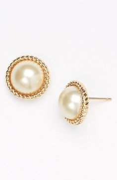 kate spade new york 'seaport' faux pearl studs available at #Nordstrom