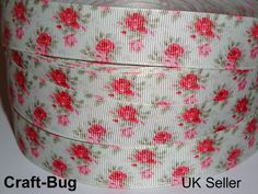 "Shabby Chic RED PINK ROSES FLOWERS Pale Green 23mm 7/8"" Grosgrain Ribbon METRE"