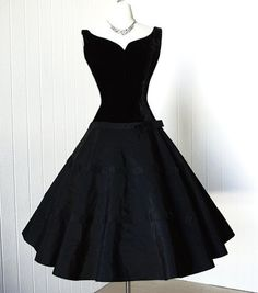 1950's classic black velvet and corded full skirt pin-up cocktail party dress. by Audrey Jr. Theme New York.