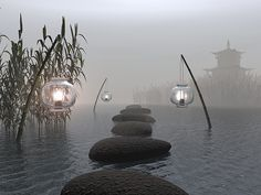 Zen Garden// the lanterns are great. love to have these in my zen garden.