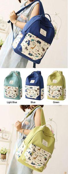 Which color do you like? Fresh Animal Canvas Backpack Elephant Giraffe Print Schoolbag Backpack #backpack #school #bag #animal #giaffe