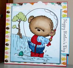 Adorable handmade Happy Father's Day fishing card