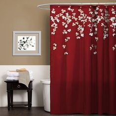Triangle Home Fashions Flower Drop Red Shower Curtain