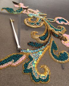 Best 12 Beetle wing embroidery at Fabrics of India exhibition, V&A – SkillOfKing. Zardozi Embroidery, Hand Embroidery Dress, Tambour Embroidery, Couture Embroidery, Bead Embroidery Jewelry, Embroidery Fashion, Embroidery Applique, Embroidery Stitches, Embroidery Patterns