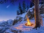 Night in the snowy mountains HD wallpaper