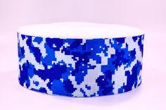 "3"" Wide Blue Digital Camo Printed on Grosgrain Cheer Bow Ribbon"