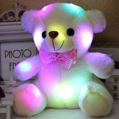 New Arrival 20CM Colorful Glowing Teddy Bear Luminous Plush Toys Stuffed Teddy Bear Lovely Gifts for Kids YZT0143