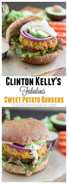 Clinton Kelly's sweet potato burgers are my favorite veggie burger I've ever tried! Vegan & Vegetarian. Everyone in the family will love these burgers!