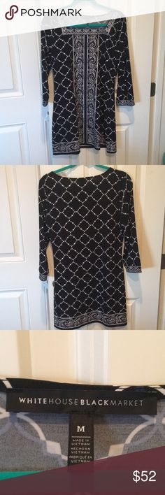Beautiful patterned blue and black dress Beautiful patterned blue and black dress. From White House black market. Only worn once. Great condition. White House Black Market Dresses