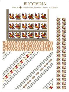 Semne Cusute: IA AIDOMA 71; Bucovina, ROMANIA Folk Embroidery, Embroidery Patterns, Cross Stitch Patterns, Knitting Patterns, Embroidery Stitches, Palestinian Embroidery, Simple Cross Stitch, Costume Patterns, Embroidery Techniques
